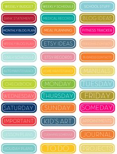 Personal planner tabs stickers