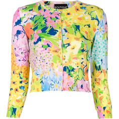Boutique Moschino floral cardigan ($450) ❤ liked on Polyvore featuring tops, cardigans, multicolour, floral print cardigan, floral tops, cardigan top, multicolor cardigan and rayon cardigan