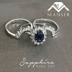 White gold sapphire ring with custom made fitted bands White Gold Sapphire Ring, Wedding Bands, Wedding Ring Bands, Wedding Band Ring, Wedding Rings, Wedding Band, Halo Rings, Wedding Ring