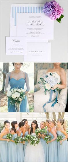 1940s Vintage Sky Blue Wedding Inspiration from Shine Wedding Invitations - Light Blue Bridesmaids Dresses, Hydrangea Bouquet, Blue Velvet Ribbon
