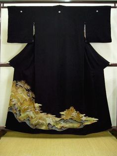 Beautiful Vintage Japanese Kimono  KURO TOMESODE Mountains Silk Black Formal with 5 KAMON family crests. of Chirimen crepe silk. Gold embroidery, gold paint in part with lovely border design of Pine tree, house (or temple), trees, rocks, bamboo leaf boat, river, MOMIJI maples, etc.