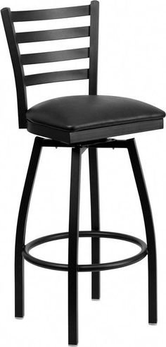 Offex Black Ladder Back Swivel Metal Bar Stool - 32 Inch Bar Stools, Bar Stools With Backs, Black Bar Stools, Metal Bar Stools, Swivel Bar Stools, Bar Chairs, Black Stool, Swivel Chair, Series Black