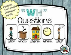 "WH Questions Activity Packet! 41 pages of ""wh"" practice. Includes posters and discussion cards. Ideal for the special education classroom."