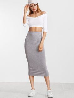Jupe crayon taille élastique -gris bruyère -French SheIn(Sheinside)