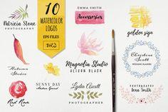 10 watercolor logo vol3 by Webvilla on @creativemarket