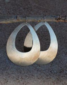Ambos Designs : Hand-Cut Shimmering Gold Teardrop Earrings