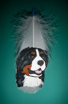 Bernese Mountain Dog Painted Feather by SpiritChickadee on Etsy, $35.00 Feather Painting, Dog Paintings, Bernese Mountain, Quilt Patterns, Spirit, Fan Art, Hand Painted, Quilts, Rock