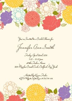 A vast variety of flowers adornes this invitation with character and personality. It is full of colorful elegancy that is for the bride that is elegant but full of life!