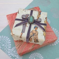 Rossi giftwrapping by Jane Means -   keep an eye out for bead and jewelry bits on clearance at the craft store.
