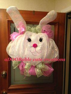 Glitzy bunny Easter wreath https://www.facebook.com/AdooRableCuteCreations?ref=hl