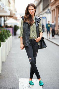 Women's fashion leather vest, Zagreb style,  Iva Balaban