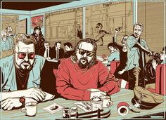 Movie mashup artwork featuring The Big Lebowski, Pulp Fiction, Reservoir Dogs, Fargo & No Country for Old Men!