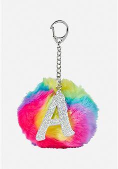 Rainbow Initial Pom Key Chain