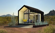 Cinder Box: prefabricated structure designed for the desert; low maintenance with Japanese aesthetics