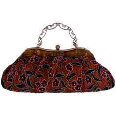 vintage  beaded red floral clasp purse