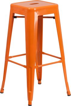 Stackable Industrial Style Modern Stool, Stacks 4 to 8 High, Backless Design, Drain Hole in Seat, Orange Powder Coat Finish, Cross Brace under seat provides extra stability, Plastic Caps on cross brace protect finish when stacked, Footrest, Protective Rubber Floor Glides, Lightweight Design, Designed for Indoor and Outdoor Use, Designed for Commercial and Residential Use