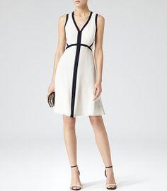 Womens Cream/navy Open Back Dress - Reiss Victoria