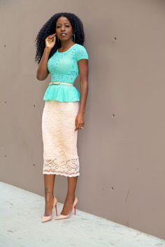 Style Pantry   Lace Peplum Blouse + Lace Pencil Skirt