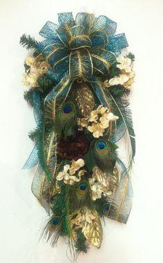 Peacock Feather Wreath, Christmas Wreath, Hydrangea Teardrop Wreath, Handmade Wreath, Holiday Wreaths on Etsy, $88.00