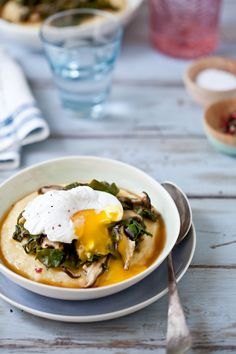 creamy polenta with russian kale shiitake mushrooms (option to be topped w/ poached egg)