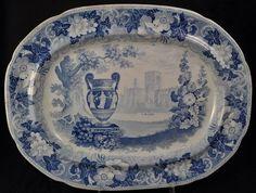Fab 1830s English Staffordshire blue transfer platter w/urn!! 15.75x11.75
