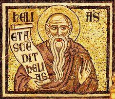 """Mosaïque du baptistère de St Jean Baptiste. Les """"(grands) prophètes"""" 19. Elie (Helias)"""