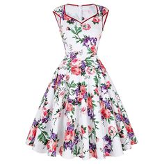 Casual Women Dress Summer 50s 60s Retro Vintage Dresses Floral Print Dot Robe Femme Rockabilly Plus Size Pinup Swing Party Dress ** Read more reviews of the product by visiting the link on the image.