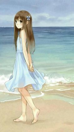 ✮ ANIME ART ✮ summer time. . .anime girl. . .beach. . .ocean. . .water. . .walking alone. . .summer dress. . .long hair. . .hair ribbon. . .lonely. . .cute. . .kawaii