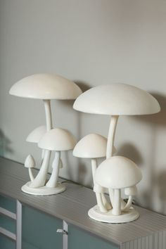 Shroom lamps. If I could find these in different colors, I'd be ecstatic!