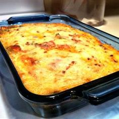 "Leftover Pizza Breakfast Casserole | ""Can be assembled the night before and stored in the fridge until morning."""