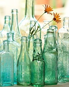 vintage bottles of blues and greens.