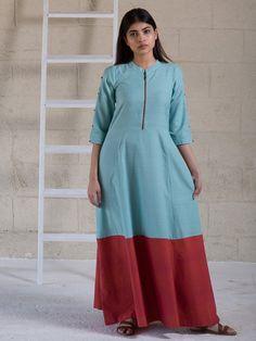 Light Blue Maroon Cotton Maxi Dress