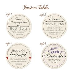 Predesigned Personalized Labels  Bath and body 60-pk