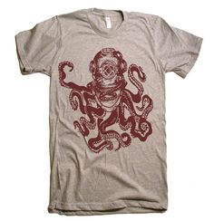 Mens Deep Sea Octopus Diver TShirt  American Apparel by lastearth, $19.00