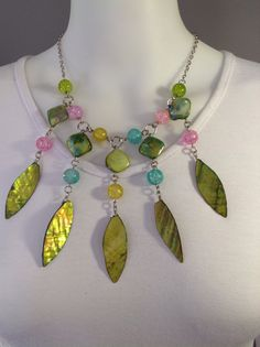 Short bib style gemstone necklace. Lime green mother of pearl and multi colored crackled quartz beads - Michela Rae