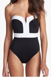 Strapless Color Splicing Sexy One-Piece Swimsuit For Women (AS THE PICTURE,L) | Sammydress.com Mobile