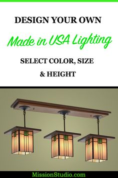 Made in the USA from hand-rolled stain glass and quartersawn oak this Craftsman style light is perfect over dining room table or over kitchen island. You can select different wood colors, glass colors and hanging heights on the website. Wood Stain Colors, Oak Stain, Pendant Light Fixtures, Ceiling Fixtures, Craftsman Dining Room, Craftsman Lighting, Rolling Kitchen Island, Quarter Sawn White Oak, Glass Kitchen