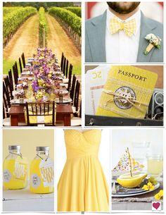 Yellow bridesmaid dress! Lemony Yellow, Purple & Gray Modern Wedding Inspiration Board