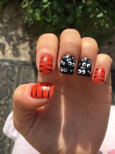 Halloween/Bengals nail art with Matte topcoat-gel polish