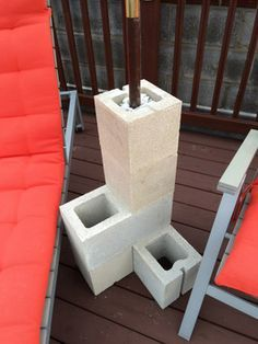 DIY Cinder Block Umbrella Stand