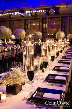 Photographer: Anna & Spencer Photography; Luxury black and white ballroom wedding reception