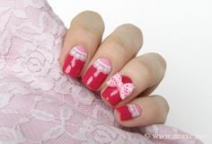 Red and pink lace nail art by Mari #nailart #lace