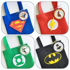 Favor Bags, Goodie Bags, Treat Bags, Girl Superhero Party, Batman Party, Wonder Woman Party, Avengers Birthday, Lego Dc, Party Themes