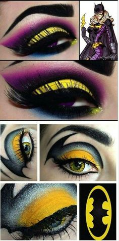 DC Comic inspiriertes Augen Make-up Maquillage Halloween, Halloween Eye Makeup, Halloween Eyes, Halloween 2018, Catwoman Makeup, Superhero Makeup, Dc Comics, Batgirl Costume, Mardi Gras