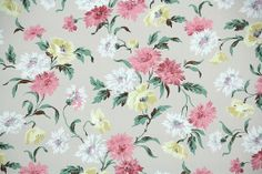 1940's Vintage Wallpaper - Floral Wallpaper with Pink Yellow and White Flowers on Taupe