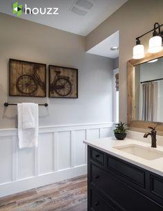 Image Gallery Website Love the wood tile floors Bathroom Great kids u bathroom with painted furniture vanity wood like tiles wainscot bat u board and quartz slab countertops