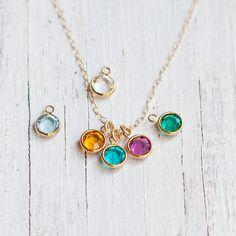 Personalized Birthstone necklace initial jewelry by Folirin