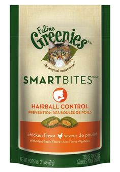 Feline Greenies Smartbites Hairball Control Cat Treats - Chicken Flavor - 2.1 Oz. (3 Pack) ** Read more reviews of the product by visiting the link on the image. (This is an affiliate link and I receive a commission for the sales)