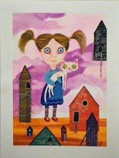 LWick Original SFA outsider art surreal girl animal kitty cat house cloud ladder