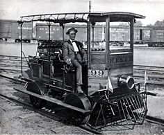 The above is a photograph of Mr. T. V. Young who was an early Superintendent of the Mississippi River and Bonne Terre Railroad (a/k/a M.R.& B.T.) in a vehicle which was used by that company to make railroad track inspections.